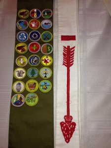 My husbands sash and Eagle Scout banner.